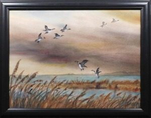Aiden Lassell Ripley: Geese on a Lake Watercolor Study