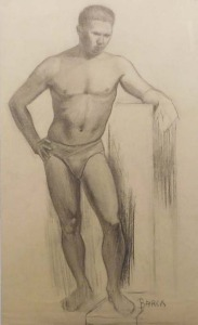 Einar Arvid Barck: Male Figure Study with Podium