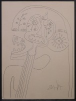 Wifredo Lam, attributed/manner of: Surrealist Figures ( Guitar face)