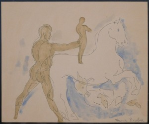 Francis Picabia, Attributed/ Manner of: Man, Horse, and Other Animals