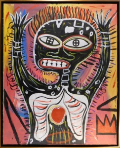 Manner of Jean Michel Basquiat: Skeletal Figure with Heart