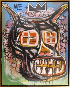 Manner of Jean Michel Basquiat: Demon Face with Window Eyes