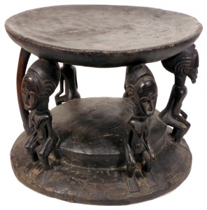 Portable Stool w/ Five Figures, Baule People, C?te d'Ivoire