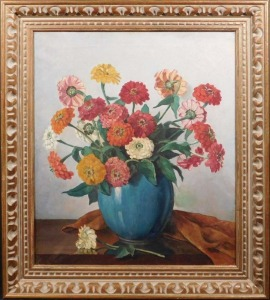P. Tyssen: Chrysanthemums in a Teal Vase