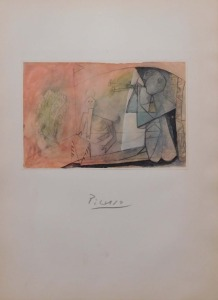 Pablo Picasso Attributed/ Manner of: Signed Lithograph,  Homme Assis Jouant de la Flute