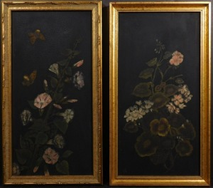 19th Century Floral Panels with Butterflies