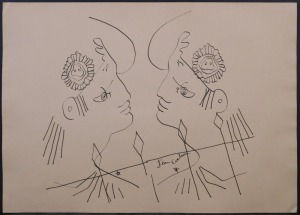 Jean Cocteau, attributed/manner of:  Two Men in Phrygain Caps