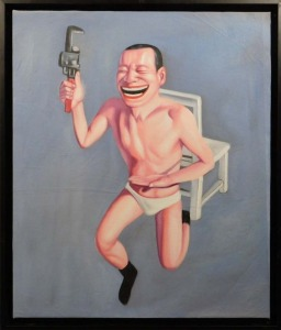 After Yue Minjun: Smiling Man with Wrench