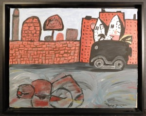 Philip Guston, Attributed: Untitled, Hooded Figures Driving